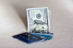 Dollars and plastic card Royalty Free Stock Image