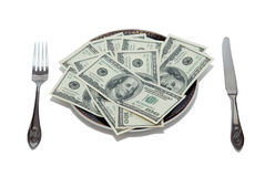 Dollars on the plate Royalty Free Stock Photo