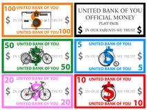 Dollars play money vector Royalty Free Stock Photos