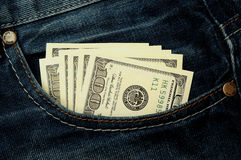 Dollars in pocket Stock Image