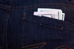 Dollars in the pocket. Dollars in the pocket of jeans Royalty Free Stock Image