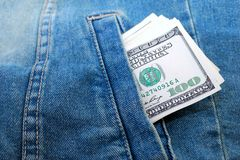 Dollars in a pocket Stock Photos