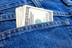 Dollars in a pocket Stock Photo