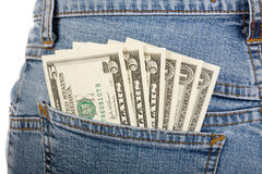 Dollars in pocket Stock Photo