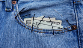 Dollars in the pocket Stock Photography