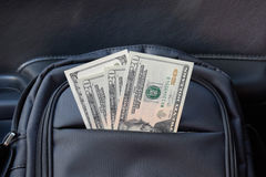 Dollars in the pocket of the bag. American Money Stock Photos