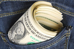 Dollars in the pocket Stock Images