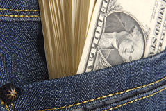 Dollars in the pocket Stock Photo