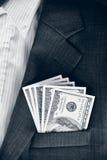Dollars in the pocket of his jacket (corruption, lobbying, bribe Royalty Free Stock Photo