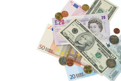 Dollars, Ponden en Euro Royalty-vrije Stock Foto's