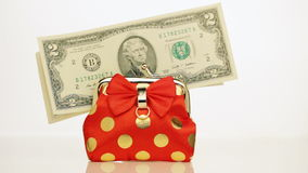 Dollars and purse. Close up. stock footage