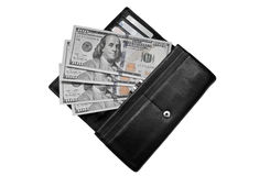 Dollars in a purse Stock Image