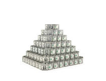 Dollars pyramid. Dollars bills pyramid as symbol of main reserve currency, exchange stability or investment fraud, financial bubble, pyramid investment scheme Stock Photo