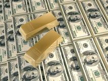 Dollars pyramid gold bars royalty free stock images