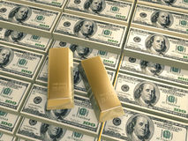 Dollars pyramid gold bars Stock Photos