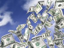 Dollars rain. Dollars are flying against the blue sky vector illustration
