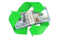 Dollars and recycle symbol Stock Photos