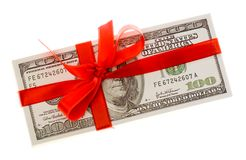 Dollars with red bow Stock Photography