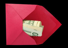 Dollars in the red envelope. Stock Image