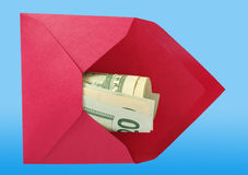 Dollars in the red envelope. Royalty Free Stock Images