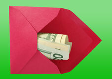 Dollars in the red envelope. Royalty Free Stock Photography
