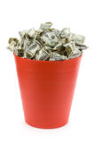 Dollars in Red Garbage Can Royalty Free Stock Image