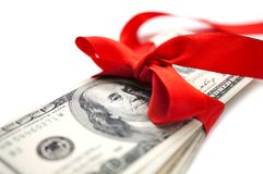 Dollars with red ribbon Royalty Free Stock Photo