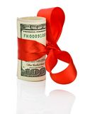 Dollars and red satin Royalty Free Stock Images