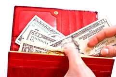 Dollars and red wallet Stock Photography