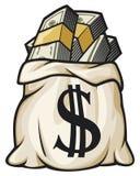 Dollars remplis par sac d'argent Photo libre de droits