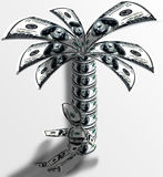 Dollars rest. Man resting under a palm tree. And a man and a palm tree consist of dollars Stock Photos