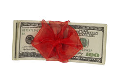 Dollars with Ribbon, top view Stock Images