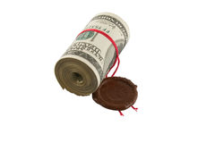 Dollars, roll, sealed Stock Photo