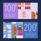 100 and 200 Dollars Room Price Vector Illustration. 100 and 200 Dollars Room Prices Vector Illustration royalty free illustration