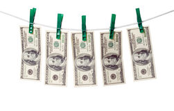 Dollars on rope. Stock Photo