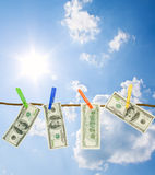 Dollars on a rope Royalty Free Stock Image