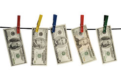 Dollars on a rope Stock Photography
