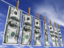 Dollars on a rope Royalty Free Stock Photos