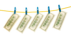 Dollars on  rope Stock Photo