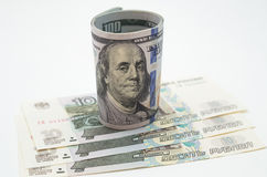 Dollars and roubles royalty free stock photography