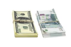 Dollars & rubbles Royalty Free Stock Images