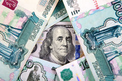 Dollars and Rubles Stock Photography