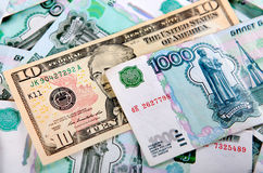 Dollars and Rubles Stock Photos