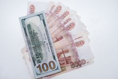 The dollars and the rubles. Business concept. royalty free stock photography