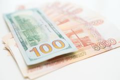 The dollars and the rubles. Business concept. royalty free stock images