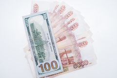 The dollars and the rubles. Business concept. stock photo