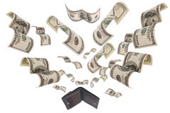 Dollars run away from wallet isolated. Hundred dollar bills flee from black leather wallet isolated on white Royalty Free Stock Photography