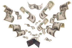 Dollars run away from wallet isolated. Hundred dollar bills flee from black leather wallet isolated on white Royalty Free Stock Photo