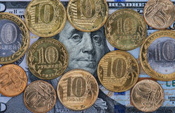 Dollars And Russian Coin Stock Image