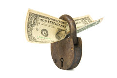 Dollars and rusty padlock Stock Image